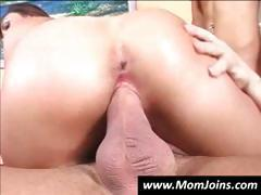 Young slut Jerry shares a big cock with her mom in this threesome