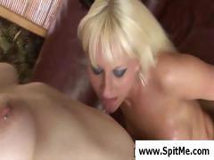 Two hot blonde lesbians are licking each other and ready for pussy