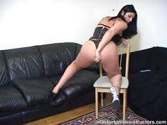 Cock stroking demonstration on her ass hole
