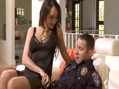Brunette gives this cop a good time as she lets him fuck her
