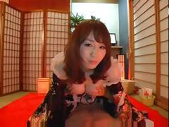 Japanese babe gets cock in her mouth and then gets fucked hard