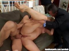 Hubby watches as his blonde wife gets fucked in the ass by friend