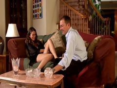 Hot babe Allie Haze sucks and fucks her boss for extra work