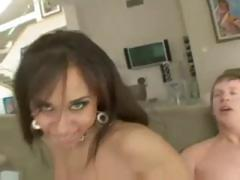 Busty brunette Nikara loves to get fucked in both of her holes