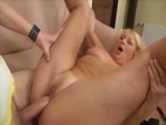 Blonde mature woman gets a hard younger cock to suck and fuck