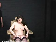 Mature slut getting stripped and tied to the chair in foretaste of torture