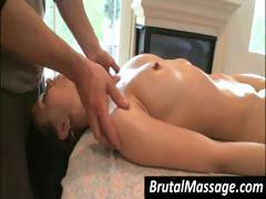 Brunette Ally Style getting a massage and getting her tits rubbed