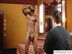 Awesome black muscled guy jerking part2