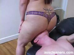 Rubbing fat ass on slave's face for ass licking session