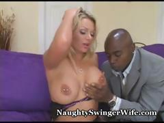 Busty blonde babe is wonderful to fuck and this black cock loves it
