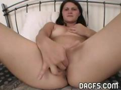 Hot brunette girlfriend rides his cock and then sucks him off