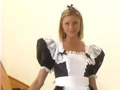 Hot blonde maid gets bosses cock to suck and fuck for a raise