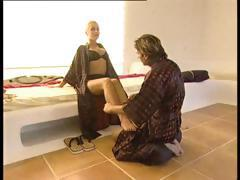 Blonde babe gets tied up in rope bondage by her horny master