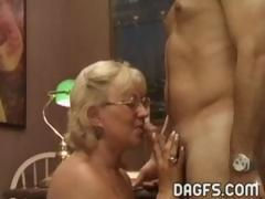 Mature granny gets a younger cock to suck and get boned by