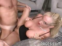 Hot busty blonde MILF fingers and then bends over to fuck