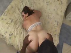 BBW brunette gets hold of a big black cock to suck and fuck