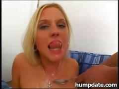 Two hot blonde babes each get a cock to suck and fuck for mouthful