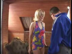 German blonde babe sucks his cock and then goes for a hard ride