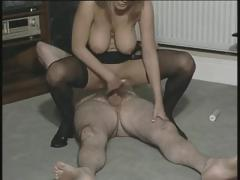 Old guy fucks British busty slut Alexis May and gives a facial