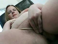 BBW with big boobs playing with her Hairy Pussy