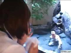Shy Japanese employee gives out handjobs at hot spring