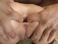 Blonde Roxy Jezel sucks on his cock and gets it in the ass