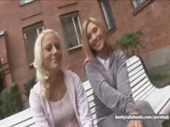 Two blonde babes get picked up and share this hard cock together