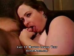 BBW wife gives her hubby a blowjob as they're filming on webcam