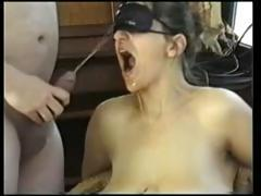Saggy tit girl gets fucked in car, pees outside and gets facial