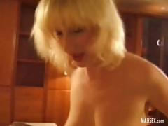Blonde babe with hairy pussy gets anal fucking