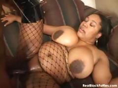 BBW ebony girl sucks hard and gets fucked hard in her shaved pussy