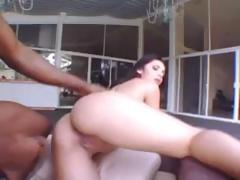 Busty brunette babe takes on a monster black cock to suck and fuck