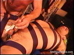 CBT Hot young built smooth dude bound and sound with electro by really goodlooking built hairy top.