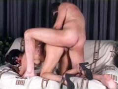 Masked Italian babe sucks on a large cock and then gets fucked