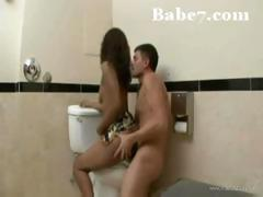 Ebony babe gets ridden in the bathroom after she sucks his cock
