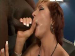 Busty blonde mature gets a black cock treat and sucks and fucks