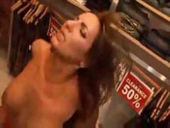 Chick is in a clothing store and gets a black cock to fuck