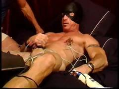 CBT Muscle stud gets his balls and tits juiced with electro stim until he cums.