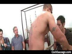 Horny gay gang sucking muscled stripper part4