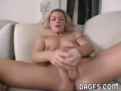Kinky blonde mom masturbates and then gets a hard dick to fuck
