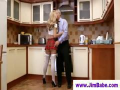 Old man fucks blonde in short skirt