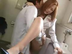 Asian Couple Fuck In Bathroom Stall