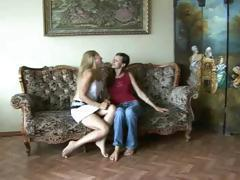 Two teen lesbians are at home and horny as they play with pussy