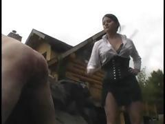Mistress is upset the weather is bad and spanks in this BDSM video