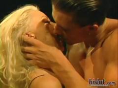 Busty Stacy Valentine gets on her knees to suck and gets fucked