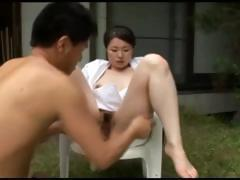 busty japanese chick gets outdoor squirt