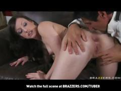Busty brunette with natural tits gets the butler's cock and fucks