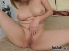 Ginger Blaze rubs her pussy and then sucks and fucks his cock