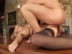 Mature mom in stockings sucks cock and gets fucked real hard