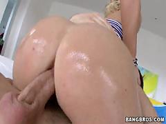 Krissy Lynn oils up her ass and sucks his cock and gets ass fucked